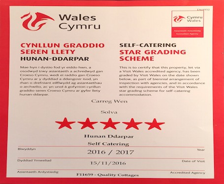 Carreg Wen awarded 5 Star Visit Wales rating